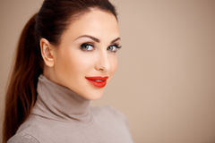 Beautiful woman in red lipstick Stock Photos