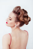 Beautiful sexy woman in red satin dress and red lips Royalty Free Stock Image