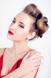 Beautiful sexy woman in red satin dress and red lips Royalty Free Stock Photos