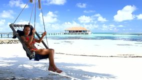 Beautiful and sexy woman resting at Maldives stock footage