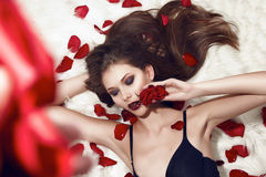Beautiful sexy woman rose makeup underwear brunette flower Royalty Free Stock Photos
