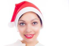 Beautiful sexy woman in santa hat. A beautiful sexy woman in santa hat Royalty Free Stock Photo