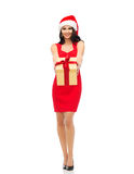 Beautiful sexy woman in santa hat with gift box Royalty Free Stock Images