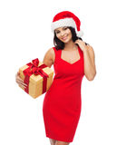 Beautiful sexy woman in santa hat with gift box Stock Photography