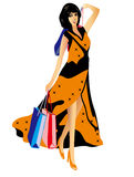 Beautiful sexy woman with shopping bags. Vector illustration of a beautiful and sexy woman wearing a long dress and carrying shopping bags Royalty Free Stock Photo