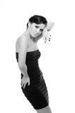 Beautiful sexy woman in short elegant dress Royalty Free Stock Photo