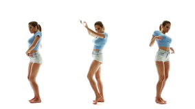 Beautiful woman in shorts and T-shirt dancing and listening music, collage set