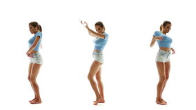 Beautiful sexy woman in shorts and T-shirt dancing and listening music, collage set stock video footage