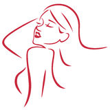 Beautiful Sexy Woman Simple Art Line Vector. Art Royalty Free Stock Photo
