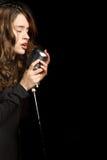 Beautiful sexy woman singing Stock Photos