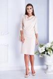 Beautiful sexy woman style fashion white dress bride wedding Stock Images