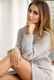 Beautiful and sexy woman in sweater Royalty Free Stock Photos