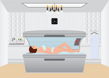Beautiful sexy woman tanning in solarium. Beautiful sexy woman tanning in solarium,Tanning bed in a salon, interior vector illustration Stock Image