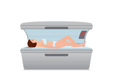 Beautiful woman tanning in solarium on white background vector illustration