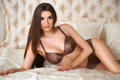 Beautiful sexy woman underwear body lingerie makeup cosmetic Stock Photography