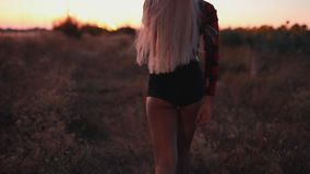Beautiful sexy woman walking in field after sunset at dusk. Rear view stock footage