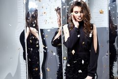 Beautiful sexy woman wear luxury black dress shine sequins style. For party celebration New Year Christmas birthday girl beauty salon hair style makeup perfect Stock Photos