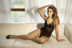 Beautiful and sexy woman wearing black lingerie Stock Image