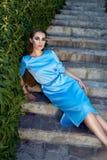 Beautiful sexy woman wearing dress walk park sun shine makeup Stock Images