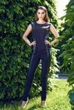 Beautiful sexy woman wearing dress walk in the park sun shine Royalty Free Stock Photography