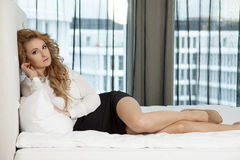 Beautiful and sexy woman wearing elegance dress Stock Photography