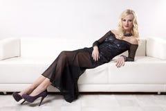 Beautiful and sexy woman wearing elegance dress Stock Photos