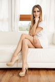 Beautiful and sexy woman wearing elegance dress Royalty Free Stock Photography