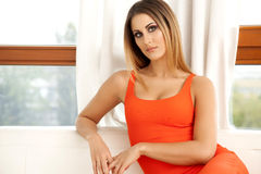 Beautiful and sexy woman wearing elegance dress Royalty Free Stock Images