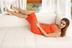 Beautiful and sexy woman wearing elegance dress Stock Image