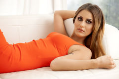 Beautiful and sexy woman wearing elegance dress Royalty Free Stock Image