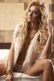 Beautiful and sexy woman wearing elegance fur Royalty Free Stock Photo