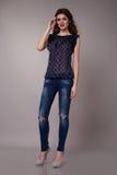 Beautiful sexy woman wearing jeans denim Stock Image