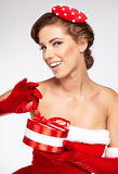 Beautiful woman wearing santa claus clothes Stock Image