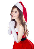 Beautiful sexy woman wearing santa claus clothes isolated on whi Stock Photography