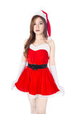 Beautiful sexy woman wearing santa claus clothes isolated on whi Stock Images