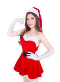 Beautiful sexy woman wearing santa claus clothes and thinking is Royalty Free Stock Images