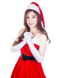 Beautiful sexy woman wearing santa claus clothes  on whi. Te background Stock Images