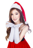 Beautiful sexy woman wearing santa claus clothes  on whi Stock Photography