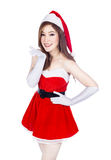 Beautiful sexy woman wearing santa claus clothes  on whi Royalty Free Stock Photos