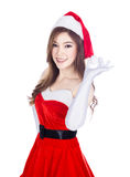 Beautiful sexy woman wearing santa claus clothes  on whi Stock Photo