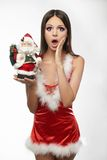 Beautiful and sexy woman wearing santa clause cost Royalty Free Stock Image