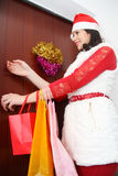 Beautiful and sexy woman wearing santa clause costume Stock Photography