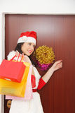 Beautiful and woman wearing santa clause costume Royalty Free Stock Image