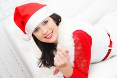 Beautiful and woman wearing santa clause costume Royalty Free Stock Photography