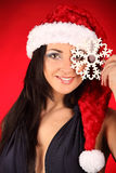 Beautiful and sexy woman wearing santa clause costume Royalty Free Stock Image