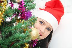 Beautiful and sexy woman wearing santa clause costume Royalty Free Stock Photos