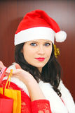 Beautiful and sexy woman wearing santa clause costume Royalty Free Stock Photography