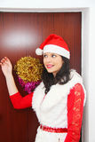 Beautiful and sexy woman wearing santa clause costume Royalty Free Stock Photo