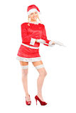 Beautiful and woman wearing santa costume Royalty Free Stock Images