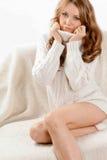 Beautiful sexy woman wearing sweater Royalty Free Stock Image